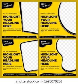 Yellow black vector graphic of social media template design.