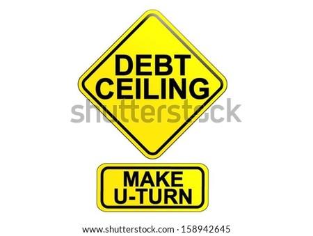 Yellow Black Warning Sign Debt Ceiling Stock Vector (Royalty