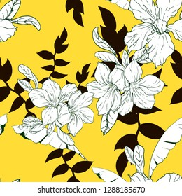 Yellow Black and white tropical vector floral seamless pattern with exotic flower adenium leaves. Fabric texture fashion design, summer sport clothing, bikini prints. Hand drawn botanical illustration