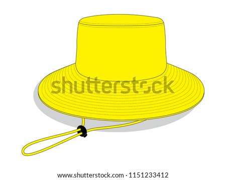 yellow blank bucket hat template wide stock vector royalty free