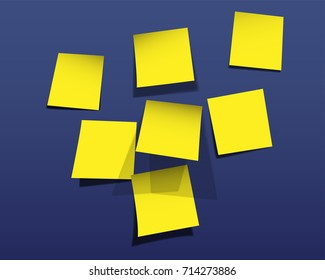 Yellow Blank Stick note on blue background. Vector illustration