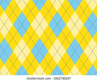 Yellow and Blue Argyle Background