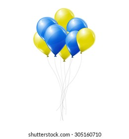 Yellow and blue balloons on white background