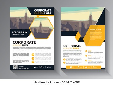yellow and blue brochure design, cover modern layout, annual report, poster, flyer in A4 with colorful triangles, geometric shapes for tech, science, market with light background