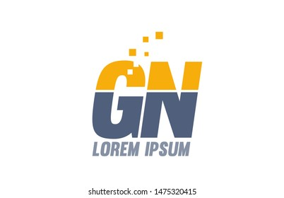 yellow blue GN G N alphabet letter logo icon design suitable for a company or business