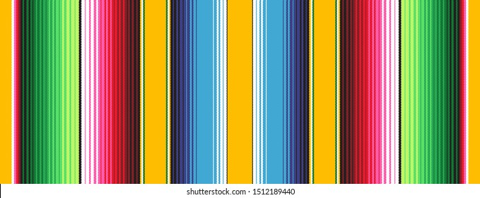 Yellow Blue Green Red Mexican Blanket Serape Stripes Seamless Vector Pattern. Rug Texture with Threads. Background for Cinco de Mayo or Mexican Food Restaurant Menu. Pattern Tile Swatch Included.