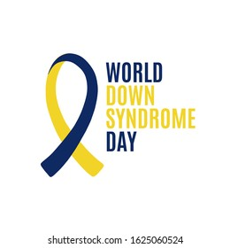 Yellow and blue ribbon, symbol of World Down Syndrome Day. March 21th. Vector illustration of World Down Syndrome Day.