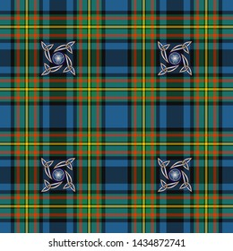 Yellow and blue stylized checkered background with celtic pattern for prints, fabrics, designs, clothes. The basis of the background is the Gillies Ancient Tartan