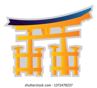 Yellow and blue vector illustration on a white background of a Shinto religion symbol