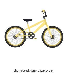Yellow BMX bike isolated. Flat design icon vector illustration.