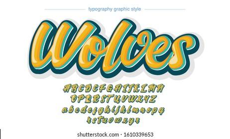 Yellow Bold Grafitti Calligraphy Style Typography Artistic Font