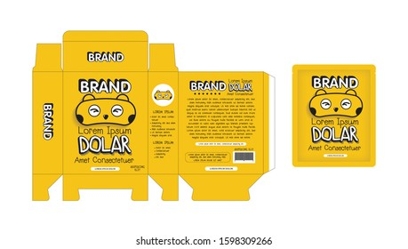 Yellow Branding Box and Bag Product Packaging Design template