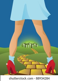 Yellow Brick Road Dorothy on the road to the emerald city. EPS 8 vector, grouped for easy editing.