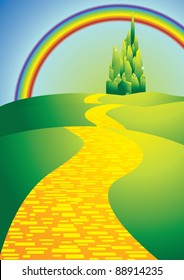 yellow brick road with rainbow