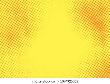 Yellow bright background with halftone dotted pattern overlay. Pop art orange dots grain. Monochrome effect card layout. Vector illustration