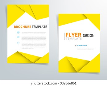 Yellow brochure template flyer design vector origami paper layer overlap with sample text for A4 size
