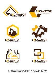 Yellow and brown excavator logo vector set design