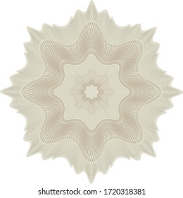 Yellow and brown guilloche rosette