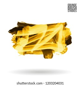 Yellow brush stroke and texture. Grunge vector abstract hand - painted element. Underline and border design.