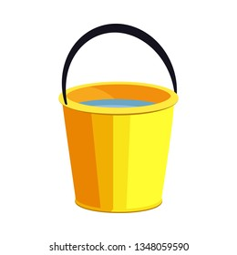 Yellow bucket illustration. Basket, home, cleaning. Houseware concept. Vector illustration can be used for topics like home, cleaning, houseware