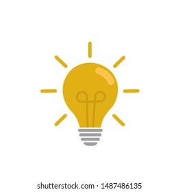 Yellow Bulb light vector icon, bulb light icon. Lighting Electric lamp vector illustration. Energy and idea symbol, idea sign, solution. Electricity, shine. White isolated