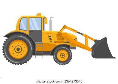 Yellow bulldozer tractor.Construction machine. Manufacturing Equipment. Industrial vehicle. Isolated on white. Side view.Flat vector.