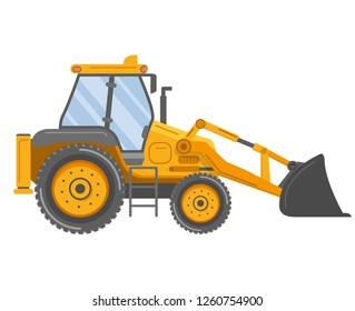 Yellow bulldozer tractor.Construction machine.Manufacturing Equipment. Industrial vehicle.Isolated on white.Side view.