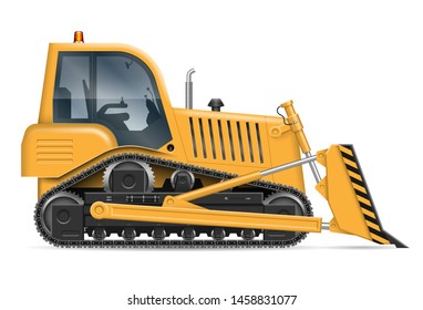 Yellow bulldozer with view from side isolated on white background. Construction vehicle vector mockup, easy editing and recolor