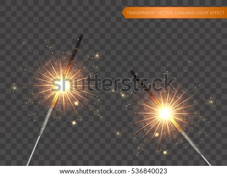 Yellow burns christmas realistic bengal light stock vector royalty yellow burns christmas realistic bengal light effect set isolated sparkler light vector design elements m4hsunfo