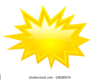 Yellow bursting icon, vector clip art