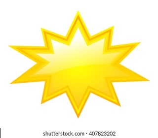 Yellow bursting star vector illustration isolated on white background