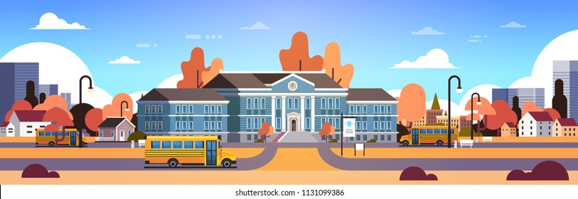 yellow bus in front of autumn school building yard pupils transport concept 1 september cityscape background banner flat vector illustration