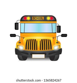 Yellow bus truck from front view school illustration isolated transportation