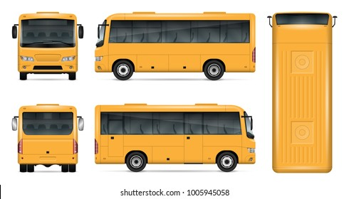 Yellow bus vector mock up for advertising, corporate identity. Isolated template of small bus on white background. Vehicle branding mockup. Easy to edit and recolor. View from side, front, back, top.