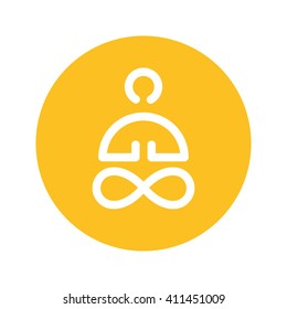 yellow button yoga symbol icon circle for website banner logo