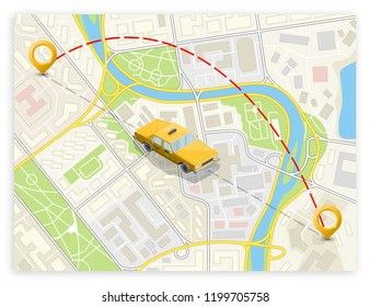 Yellow cab banner isometric. Online navigation application order taxi service. Isometry car vector isometric route banner. 3D taxi classic vehicle itinerary road. Get a taxi online phone application
