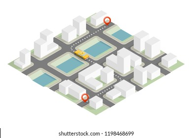 Yellow cab isometric city. Online navigation application order taxi service. Isometry car vector isometric route town. 3D taxi classic vehicle itinerary road city. Get a taxi online phone application
