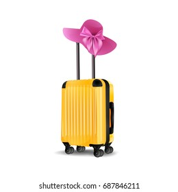 Yellow Cabin Luggage mock up, Suitcase, luggage and Woman`s summer pink hat isolated on white background. vector illustration.