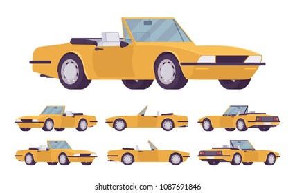 Yellow cabriolet car set. Roadsters passenger vehicle with a roof folds down, convertible top, two seats, luxury design city auto to enjoy a travel and journey. Vector flat style cartoon illustration