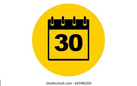 yellow calendar 30 vector icon