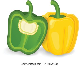yellow capsicum with half piece of green capsicum vector illustration