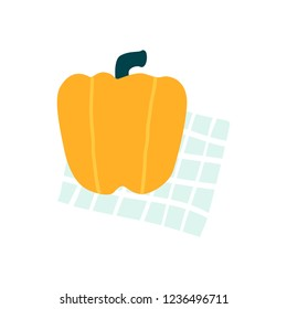 Yellow capsicum on a kitchen towel vector