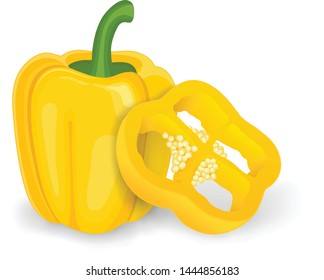 Yellow capsicum pepper (bell pepper) Vector illustration