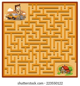 Yellow Car Maze Game (help the Man in the yellow car find his way home - Maze vector puzzle)