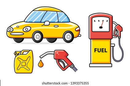 Yellow car, petrol fuel pump with nozzle and jerry can gallon canister isolated. Gas filling station set.