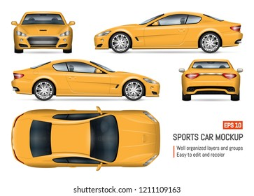 Yellow car vector mockup on white background for vehicle branding, corporate identity. View from side, front, back, and top. All elements in the groups on separate layers for easy editing and recolor