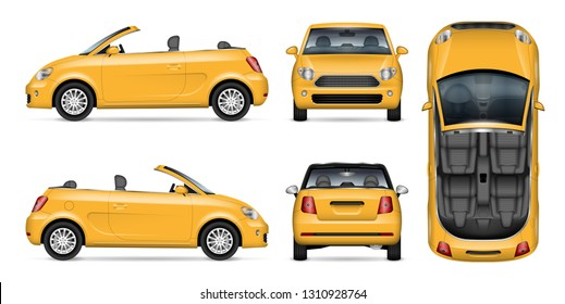 Yellow car vector mockup for vehicle branding, advertising, corporate identity. Isolated template of realistic convertible automobile on white background. All elements in the groups on separate layers