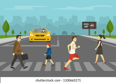 Yellow car waiting in front of stop line while group of people crossing road on zebra crossing. Pedestrians. Flat vector illustration.