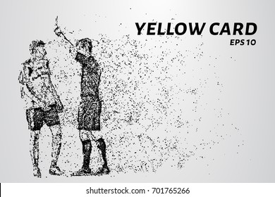 Yellow card of the particles. Referee gives player yellow card consists of dots and circles. Vector illustration.