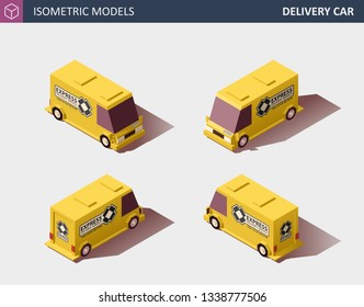 Yellow Cargo Truck or Delivery Car with Company Logo. Fast Delivery or Logistic Transport. Template Vector Isolated on White. Isometric High Quality Element. EPS 10 Vector. Flat Style Illustration.
